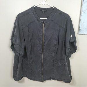 TORRID zip up short sleeve jacket, pockets